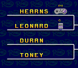 Boxing Legends of the Ring SNES Battle of the legends tournament tree