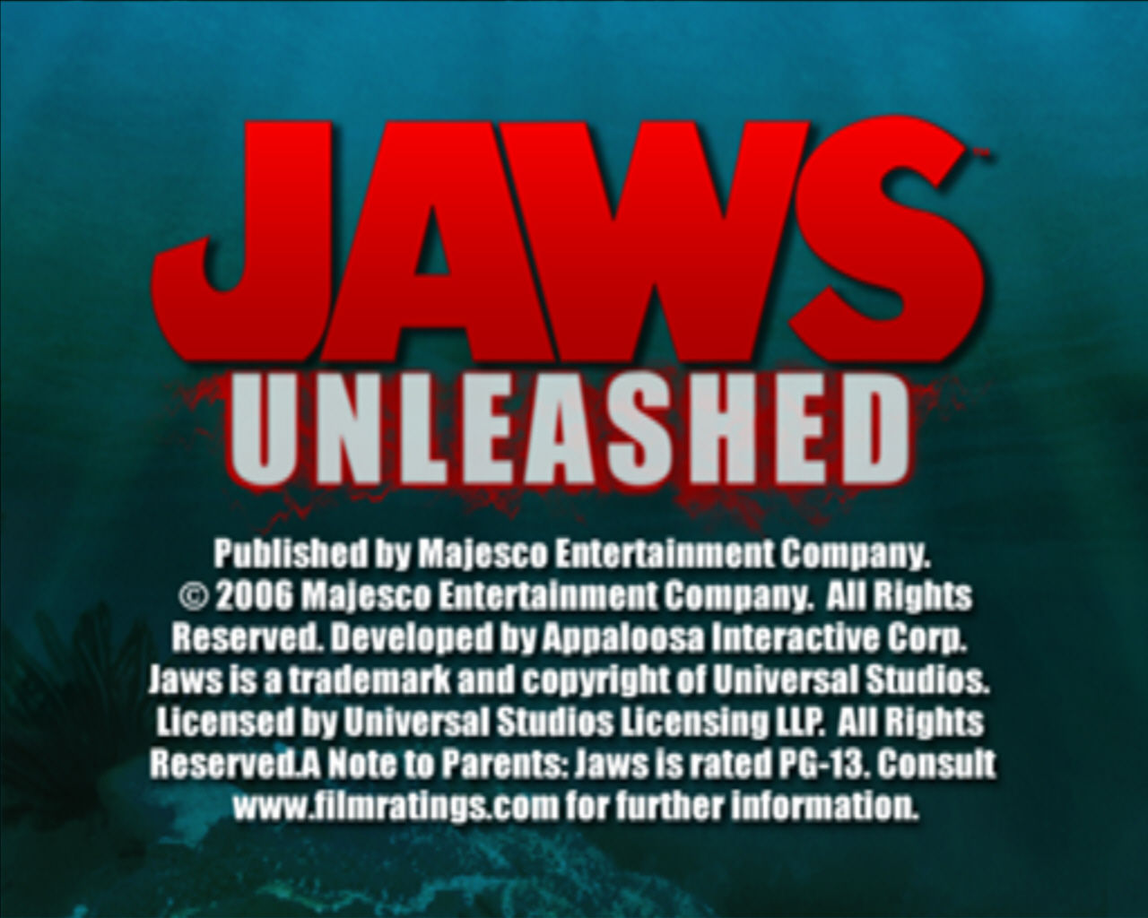 Jaws: Unleashed Windows Title screen.