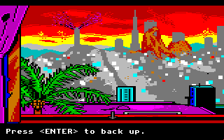 Manhunter 2: San Francisco Amiga Looking out a window. San Francisco doesn't look too healthy these days...
