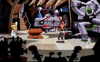 Maniac Mansion: Day of the Tentacle DOS Bernard in Doctor Fred's lab