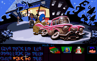 Maniac Mansion: Day of the Tentacle DOS A hood is stripping a car.