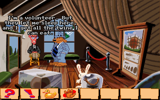 Sam & Max: Hit the Road DOS Talking to the tour guard at World's Largest Ball of Twine