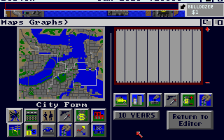 SimCity Amiga The map graph window. (1 Meg 32 color version)