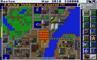 SimCity Amiga There has been a nuclear meltdown! (1 Meg 32 color version)