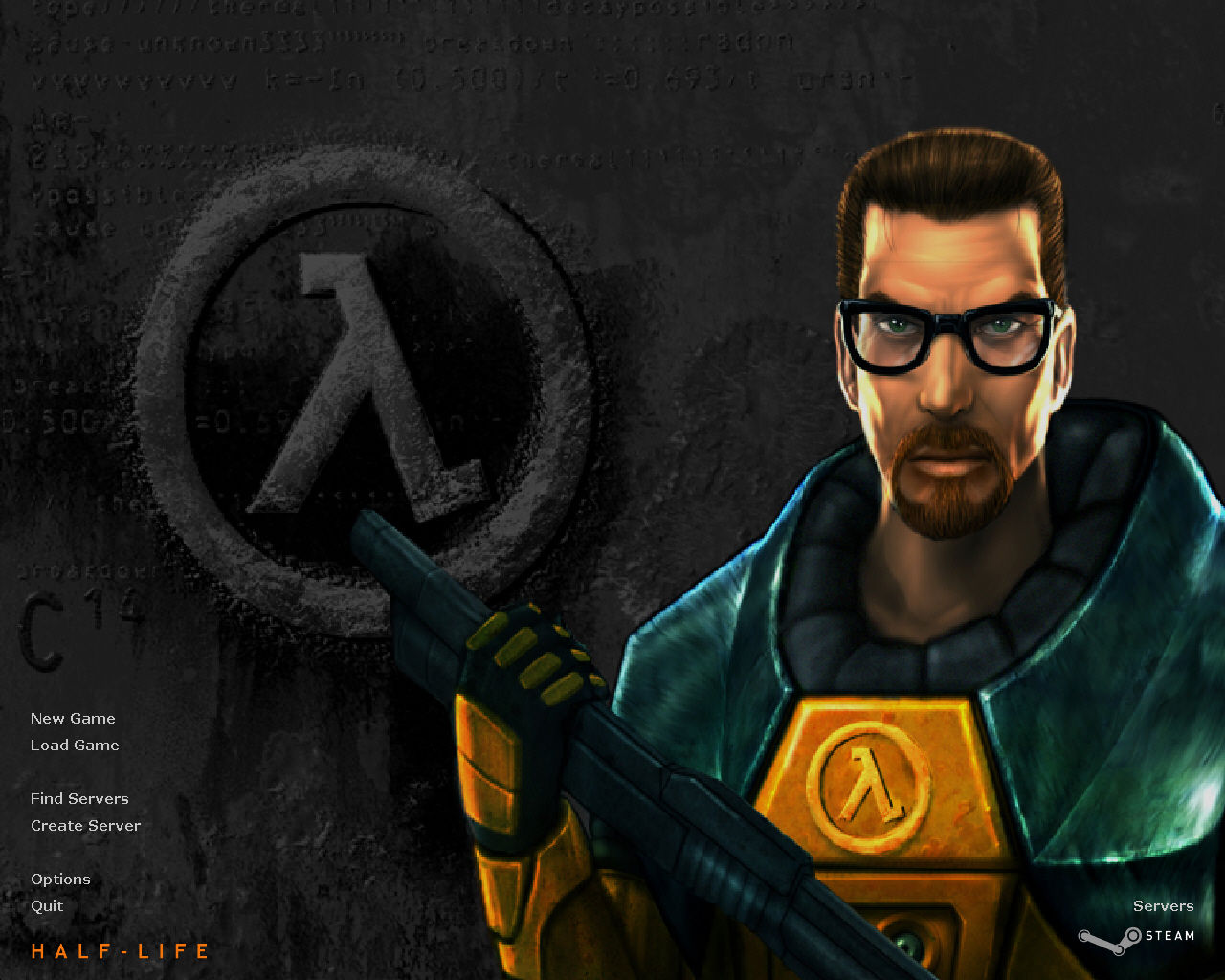 Half-Life Windows Title screen and main menu (Steam release)