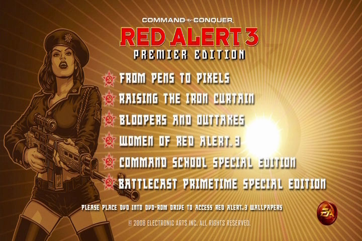 Command & Conquer: Red Alert 3 (Premier Edition) Windows Bonus DVD menu.