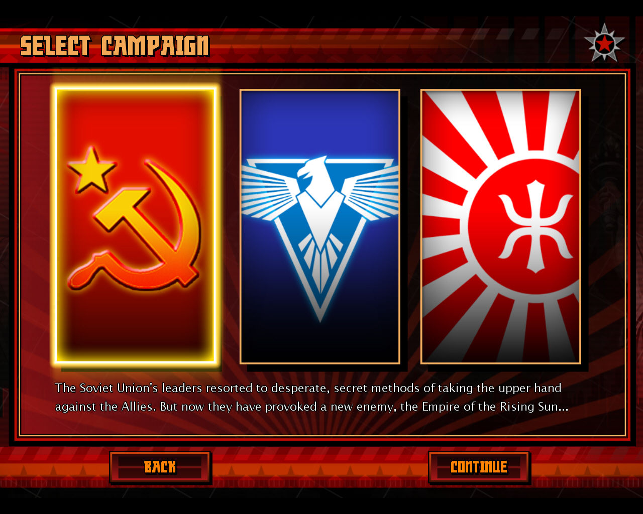 Command & Conquer: Red Alert 3 Windows Campaign selection screen.