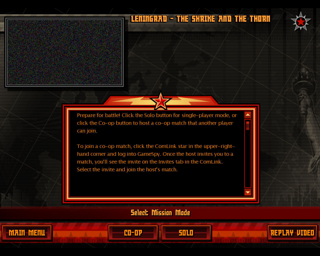 Command & Conquer: Red Alert 3 Windows Select mission mode.