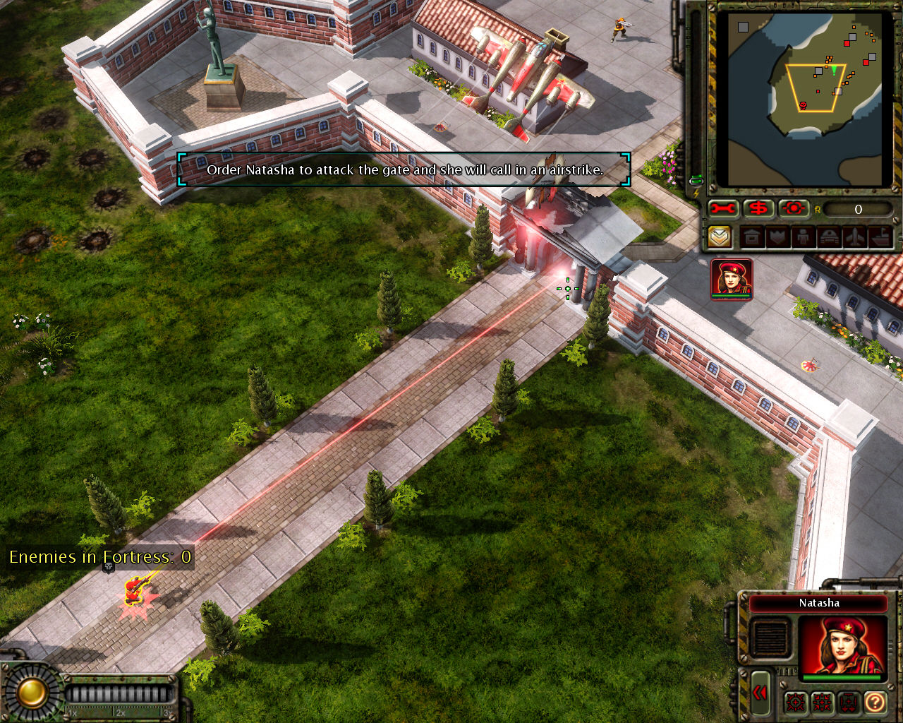 Command & Conquer: Red Alert 3 Windows Natasha can order air strikes.
