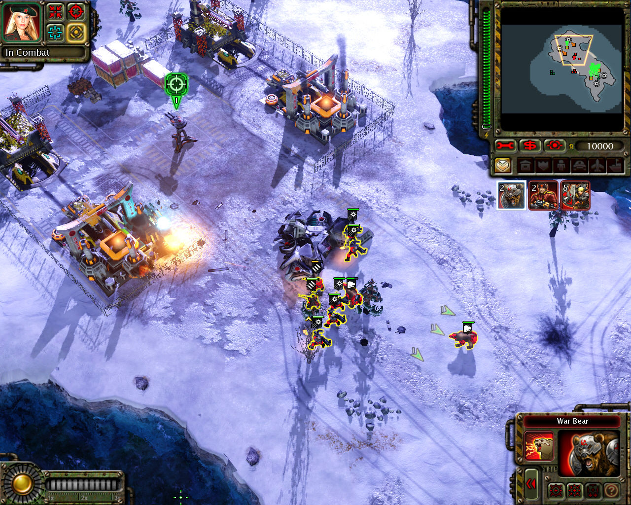 Command & Conquer: Red Alert 3 Windows Soldiers attacking small enemy base.
