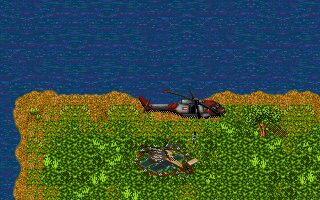 Jungle Strike DOS Level 2 - Dropping off the Navy Seals at a US landing pad.