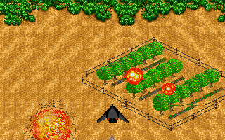 Jungle Strike DOS Level 7 - Blowing up a drug field with the stealth plane.