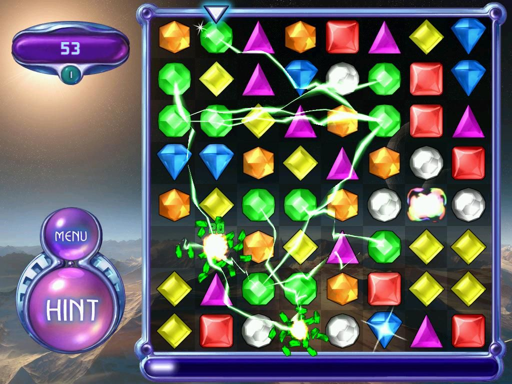 Bejeweled 2: Deluxe Windows Just exploded all of the green gems!