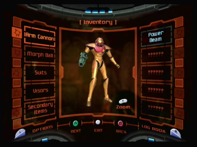 Metroid Prime GameCube The inventory screen