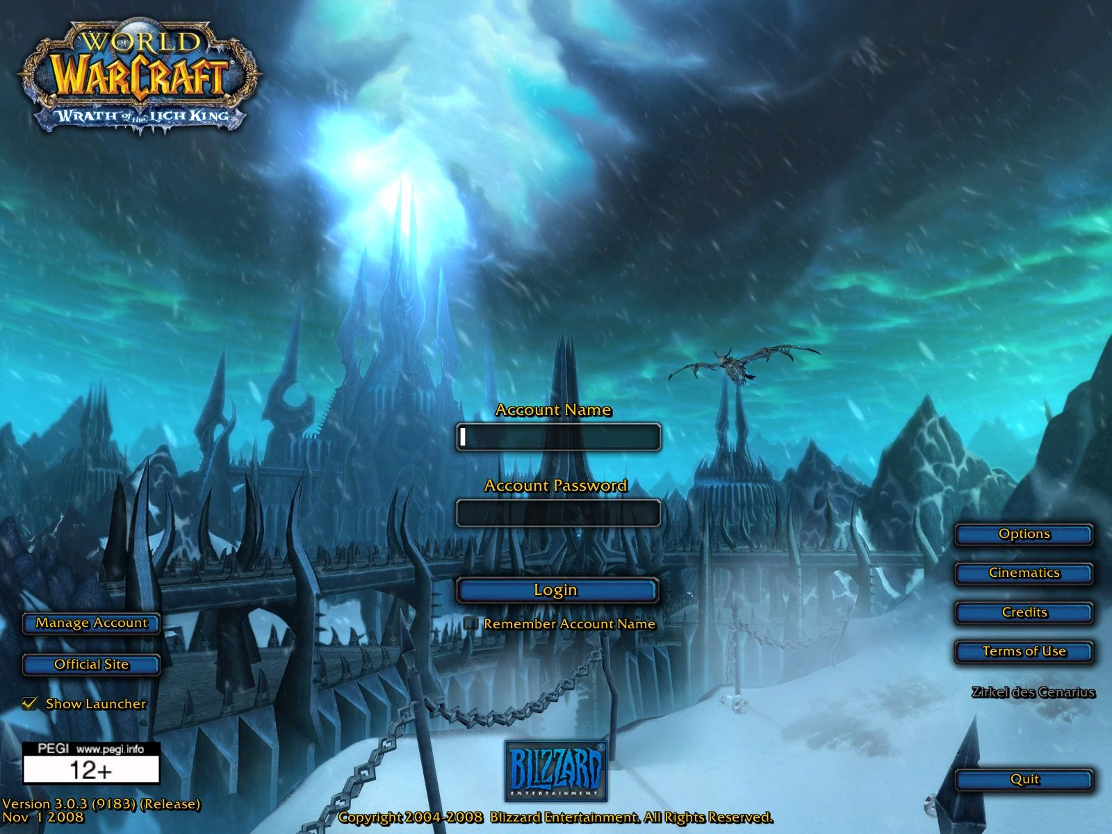 World of Warcraft: Wrath of the Lich King Windows Login screen