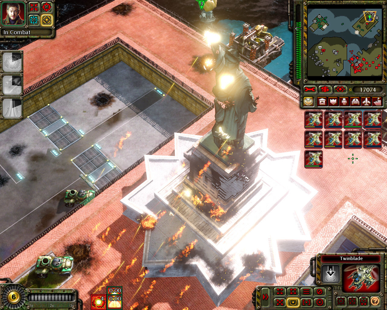 Command & Conquer: Red Alert 3 Windows Destroying the Statue of Liberty.