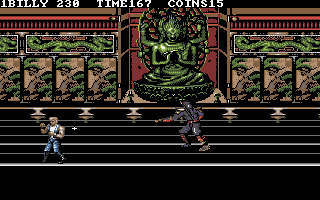 Double Dragon III: The Sacred Stones DOS The Japanese boss throws shuriken at you.