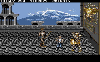 Double Dragon III: The Sacred Stones DOS Meeting the heavily armed Italian boss.