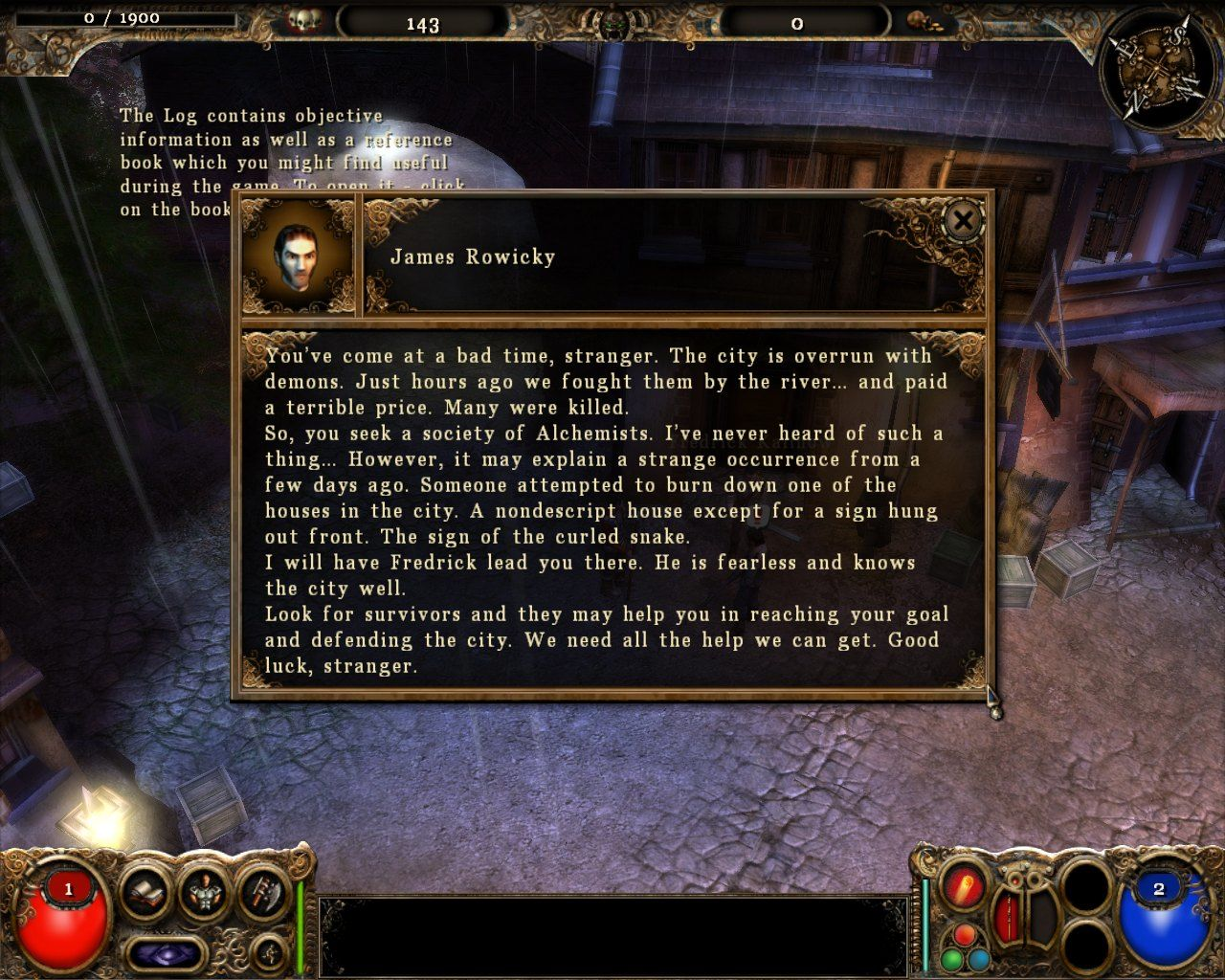 The Chosen: Well of Souls Windows Dialogue screen