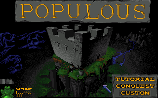 Populous Amiga Main Menu.