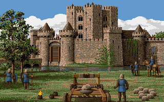 Defender of the Crown Amiga Laying siege to a Norman Castle.