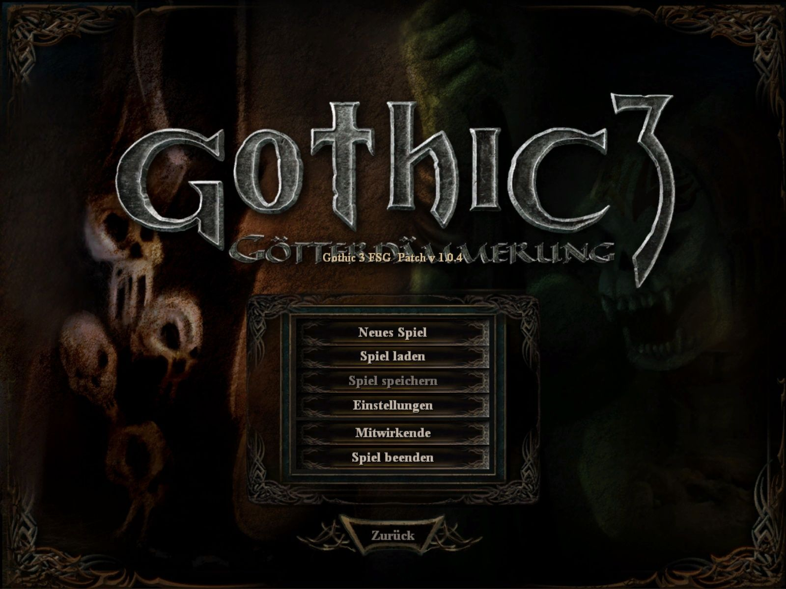 Gothic 3: Forsaken Gods Windows Main Menu