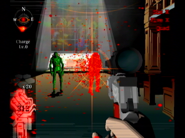 Killer7 GameCube Getting Smiles out of a church.