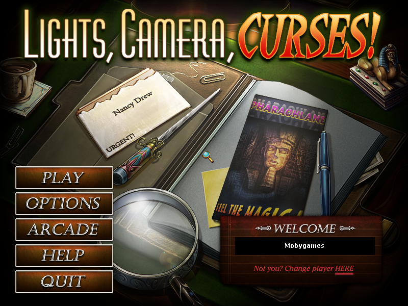 Nancy Drew Dossier: Lights, Camera, Curses! Windows Main menu