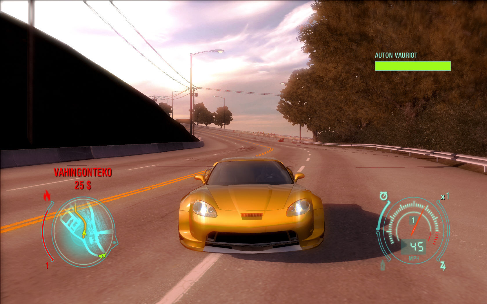 Need for Speed: Undercover Windows Driving a yellow sport car.
