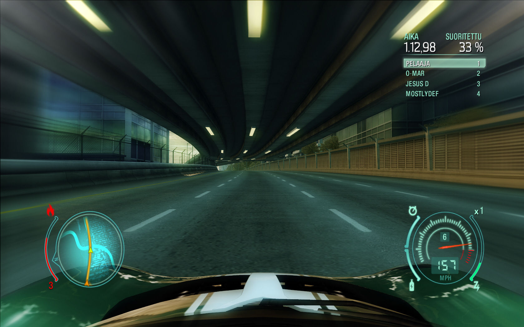 Need for Speed: Undercover Windows Hood view inside a tunnel.