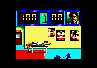 Daley Thompson's Olympic Challenge Amstrad CPC Sit ups in training