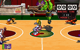 Space Jam DOS The start of the basketball game.