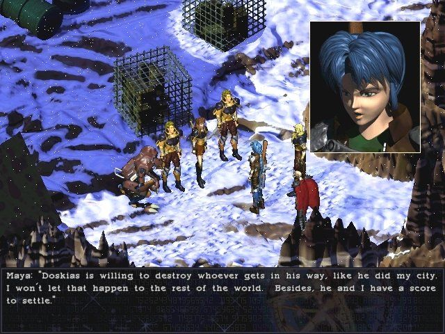 Septerra Core: Legacy of the Creator Windows Chatting with some allies in a snow field. Dig the cool weather effects