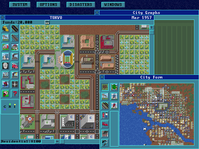 SimCity: Enhanced CD-ROM DOS Tokyo city view