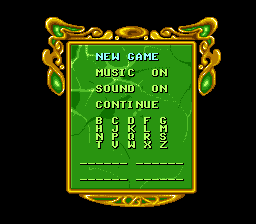 The Wizard of Oz SNES Main menu