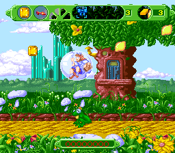 The Wizard of Oz SNES Floating away in a bubble when you run out of life.
