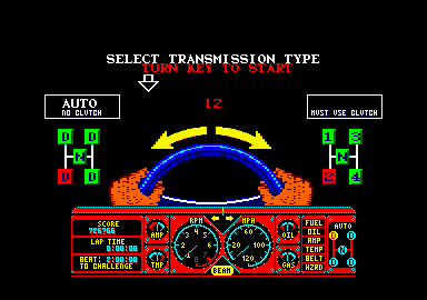 Hard Drivin' Amstrad CPC Automatic transmission or stick shift?