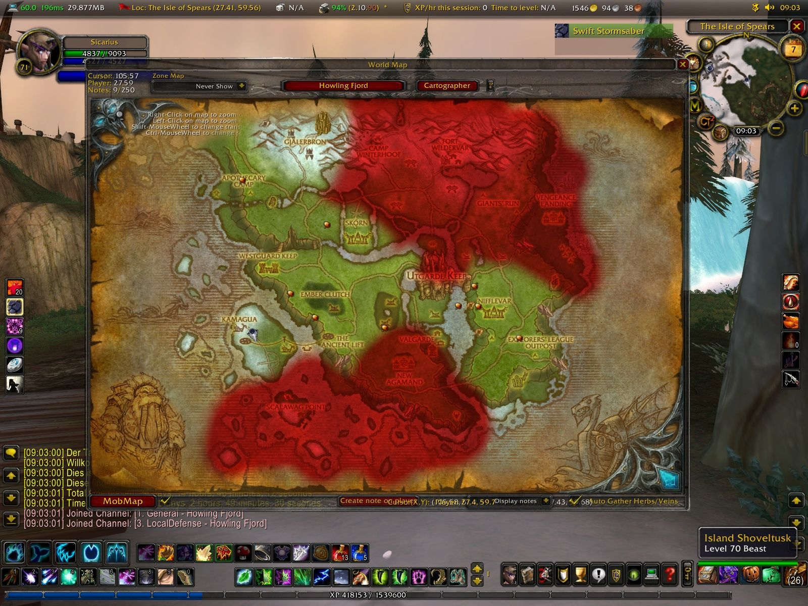 World of Warcraft: Wrath of the Lich King Windows The map of the new zone Howling Fjord.