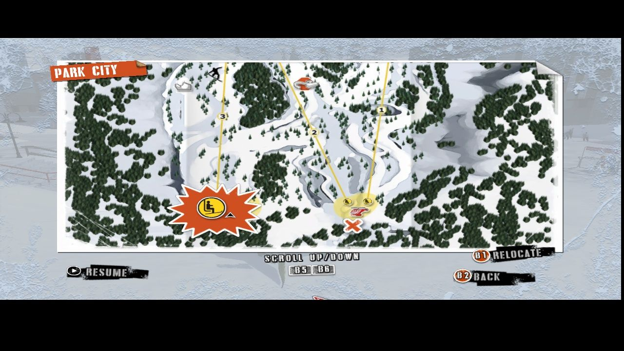 Shaun White Snowboarding Windows The area map.