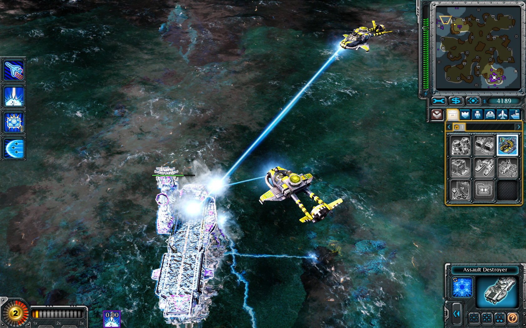 Command & Conquer: Red Alert 3 Windows Enemy cryo copters captured aircraft carrier.