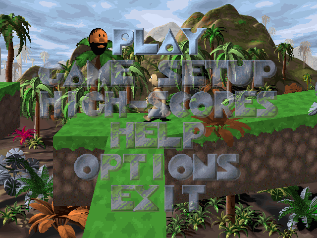 3D Caveman Rocks Windows Main menu