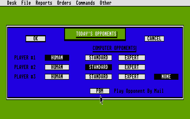 Empire: Wargame of the Century Atari ST Choosing number of players