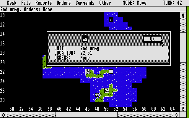Empire: Wargame of the Century Atari ST Info about a unit