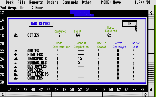 Empire: Wargame of the Century Atari ST War Report. Looking good