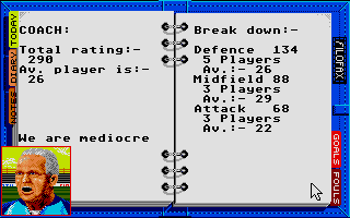Kenny Dalglish Soccer Manager Atari ST The coach isn't too optimistic.
