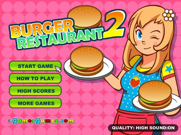 Burger Restaurant 2 Browser Main menu