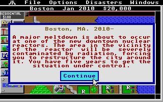 SimCity Atari ST Scenario briefing