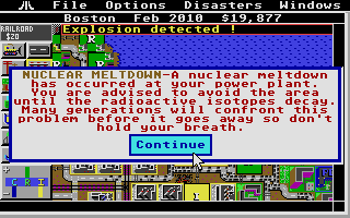 SimCity Atari ST Catastrophe strikes