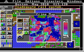 SimCity Atari ST Crime map