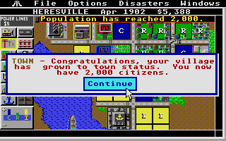 SimCity Atari ST Wow! My little villages is now a small town